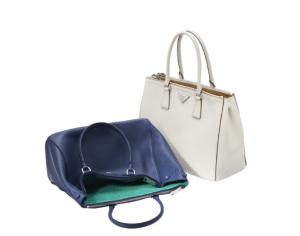 Borsa Prada modello Galleria 2015 blu e bianca